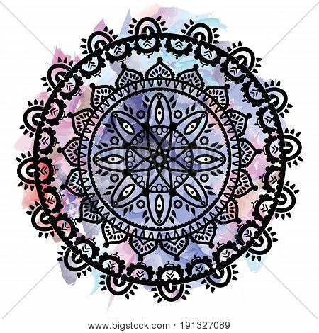 Partial Mandala in the shape of the native culture inspired dreamcatcher made out of swirly elements in black and white symbolizing happiness, love and spiritual life style 2 on watercolor background
