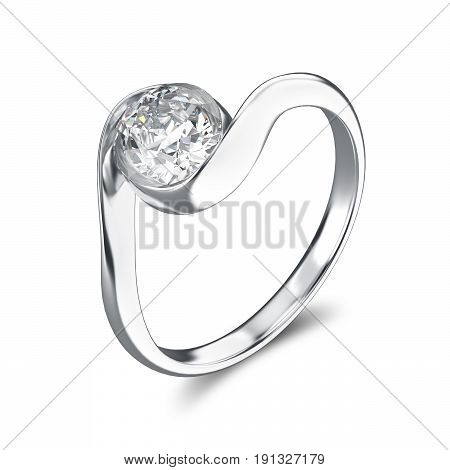 3D illustration silver ring bypass with diamond on a white background