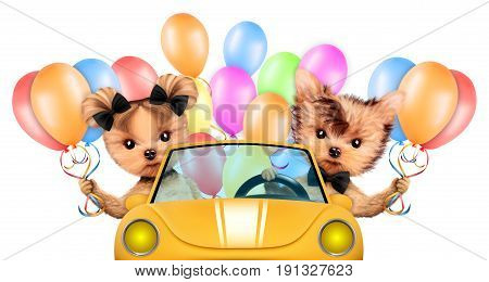 Couple of dogs sitting in the cabriolet with balloons, isolated on white background. Vacation and travel concept concept. Realistic 3D illustration