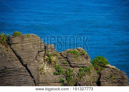Beautiful view of pancake rocks in Punakaiki, South island, in New Zealand.