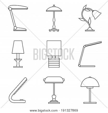 Lamp. Set of table lamp. Home lighting. Table lamps in flat style. Vector illustrator.