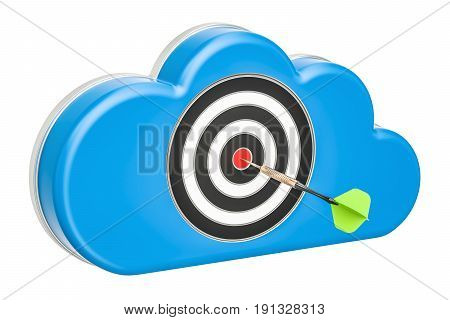 computer cloud with dartboard 3D rendering isolated on white background