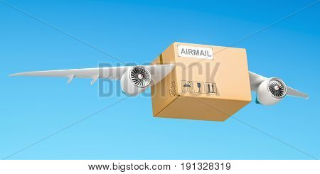 Delivery concept. Parcel with wings flying in the sky 3D rendering