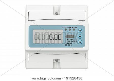 Modern electric meter 3D rendering isolated on white background