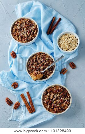 Sweet potato banana baked oatmeal with pecan crumb crust