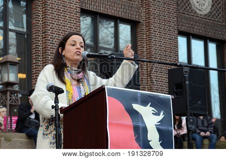 ANN ARBOR MI - JAN 21: UAW Vice-President Cindy Estrada addresses the Women's March in Ann Arbor on January 21 2017.