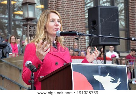 ANN ARBOR MI - JAN 21: Michigan State Representative Donna Lasinski addresses the Women's March in Ann Arbor on January 21 2017.
