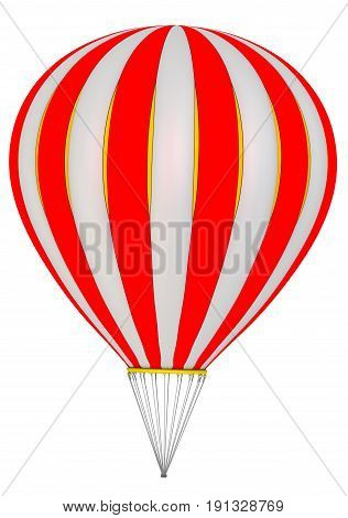 The balloon aircraft. Hot air balloon without a gondola (basket). Isolated. 3D Illustration