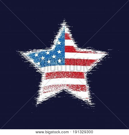 Star in the colors of the American flag with torn edges on black background