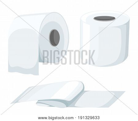Paper Roll Mock Up Set Isolated On White Background Vector Illustration. Toilet Paper Roll, Cash Reg
