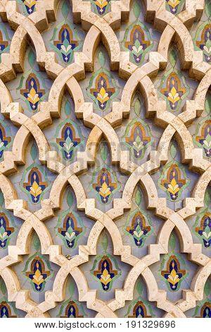 Grande Mosque Hassan II architectural pattern detail in Casablanca Morocco.