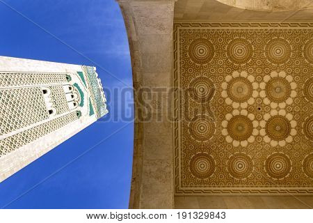 Grande Mosque Hassan II minaret and architectural detail in Casablanca Morocco.