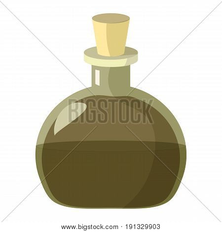 Flask of potion. Cartoon flat illustration of alchemist or magic beaker of potion or poison. Great as halloween or medieval game design element.