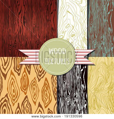 wood texture set. Seampless pattern. Vector eps 10