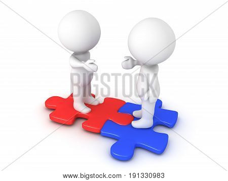 Two 3D Characters Extending Hands And Sitting On Interlocking Red And Blue Puzzle Pieces