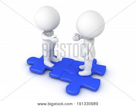 Two 3D Characters Extending Hands And Sitting On Interlocking Blue Puzzle Pieces