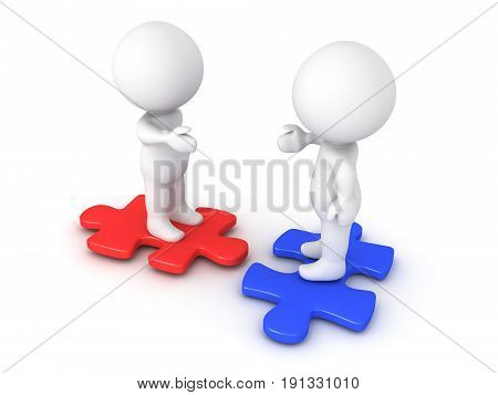 Two 3D Characters Extending Hands And Sitting On Compatible Puzzle Pieces