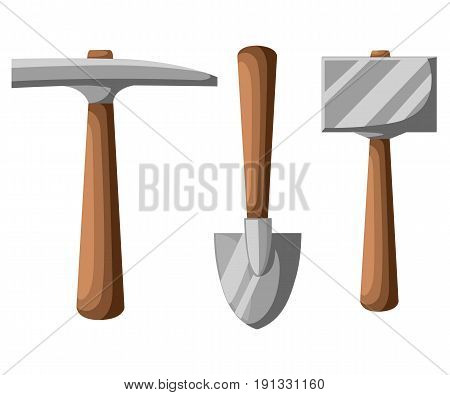 Pick Shovel Mining Tools, Shovel And Pickaxe Vector Illustration Isolated On White