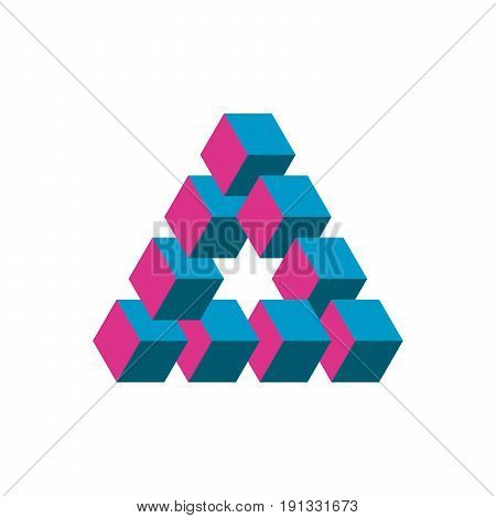Impossible triangle in three different colors. Cubes arranged as geometric optical illusion. Reutersvard traingle. Vectori illustration.