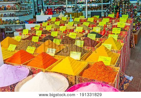 ANTALYA TURKEY - MAY 6 2017: The spice store in Old Bazaar in Kaleici district the pyramids of herbs and powders of different colors attract the visitors walking along the market street on May 6 in Antalya.