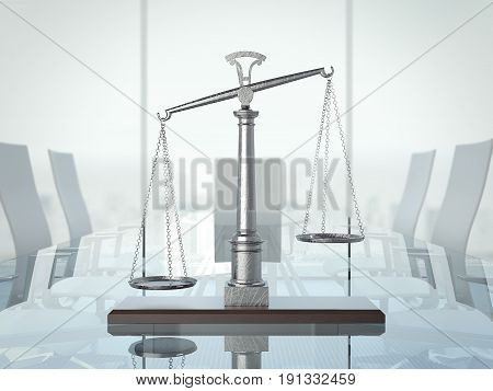Justice scales on the glas table in modern interior. 3d rendering