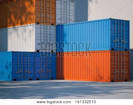 Shipping containers. Bright sunny day. 3d rendering