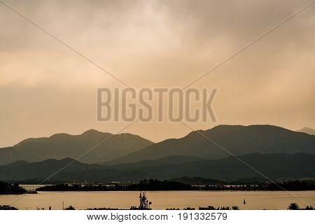 Misty mountains landscape in Fethiye Turkey used photo effects