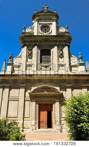 Saint Vincent church lies in the center of Blois, France. Built in the 17th century. Jesuit style.