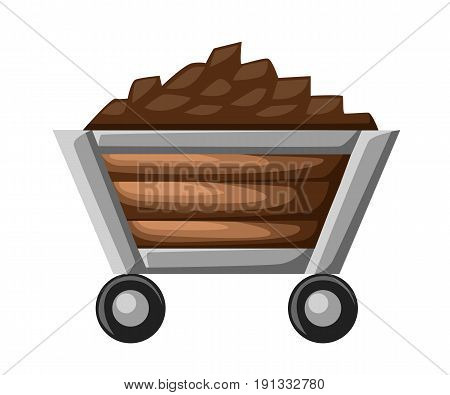 Coal Or Mine Trolley Icon. Flat Illustration Of Coal Or Mine Trolley Vector Icon For Web