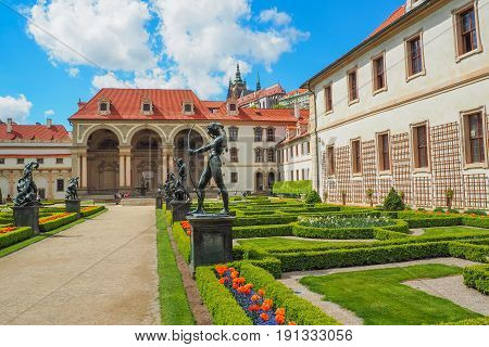 View of the Baroque Wallenstein Palace in Malá Strana Prague currently the home of the Czech Senate and its french garden in spring.