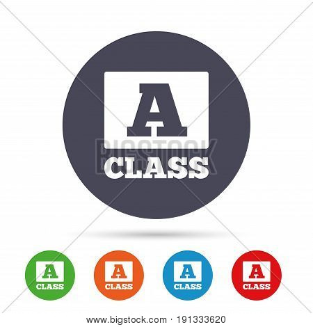 A-class icon. Premium level symbol. Energy efficiency sign. Round colourful buttons with flat icons. Vector