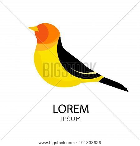 Icon with abstract bird in bright colors on white background. Vector illustration.