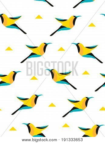 Summer pattern with geometric bird and triangles on white background. Vector.