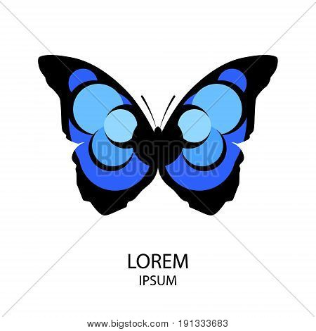 Abstract icon of a butterfly in bright colors on white background. Vector illustration.