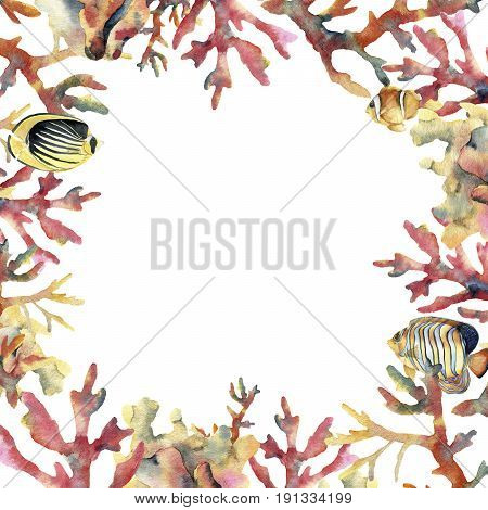 Watercolor card with coral and fish. Hand painted underwater frame with coral branches isolated on white background. Tropical sea life illustration. For design, print or background
