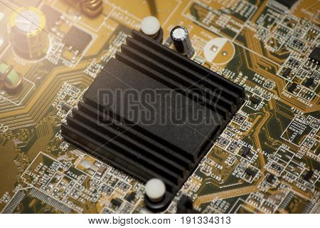 Heatsink black color on chipset motherboard computer.