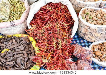 Various spices on the market in Fethiye Turkey