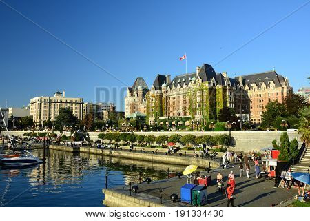 Victoria BC,Canada,August 20th 2014.The iconic Empress hotel in Victoria is a true landmark.It is right across from the busy inner harbor close to downtown and other interesting attractions for all to enjoy when in Victoria.Come to our city and explore