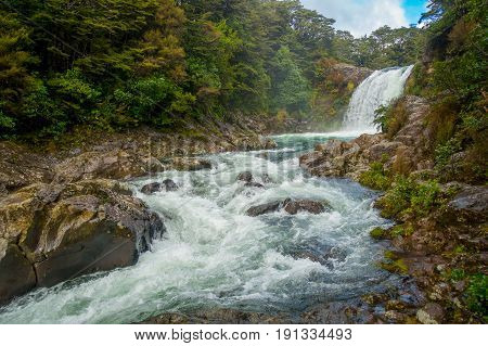 Tawhai Falls in Tongariro National Park, on the North Island, New Zealand. This stunning winter's day provided a stunning shot of the falls. Wonderful for any adventurous ideas and concepts.