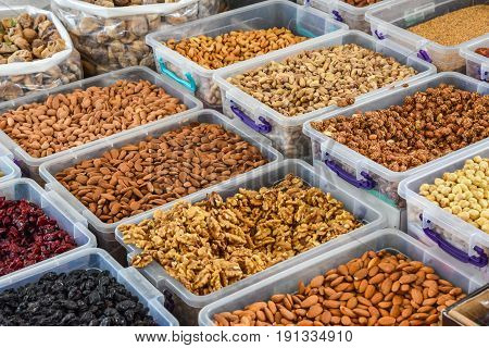 Various nuts at the market stand in Fethiye Turkey