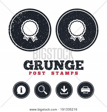 Grunge post stamps. Award icon. Best guarantee symbol. Winner achievement sign. Information, download and printer signs. Aged texture web buttons. Vector