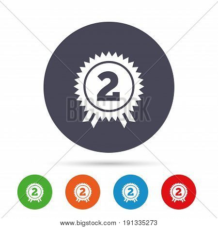 Second place award sign icon. Prize for winner symbol. Round colourful buttons with flat icons. Vector