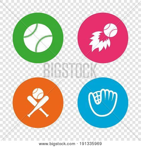 Baseball sport icons. Ball with glove and two crosswise bats signs. Fireball symbol. Round buttons on transparent background. Vector