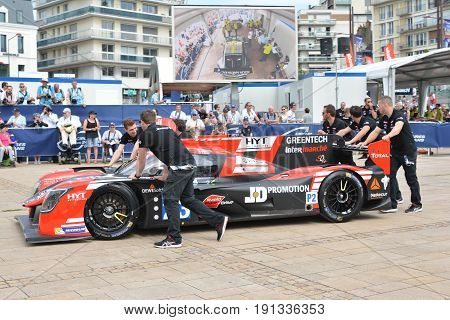 LE MANS FRANCE - JUNE 11 2017: Race car LIGIER JSP217 of Fabien Barthez former french goalkeeper and racer 11 june 2017- Weighing administrative and technical checks of the race cars before race