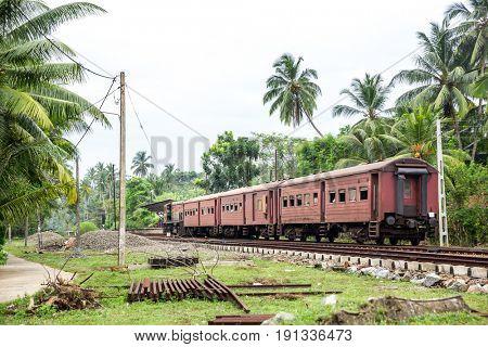 Train station, locomotive, railway road, Sri Lanka