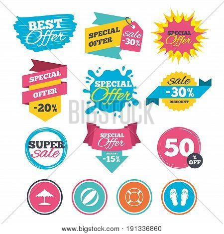 Sale banners, online web shopping. Beach holidays icons. Ball, umbrella and flip-flops sandals signs. Lifebuoy symbol. Website badges. Best offer. Vector