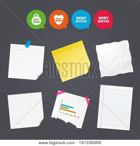Business paper banners with notes. Best mom and dad, brother and sister icons. Weight and flower signs. Award symbols. Sticky colorful tape. Speech bubbles with icons. Vector