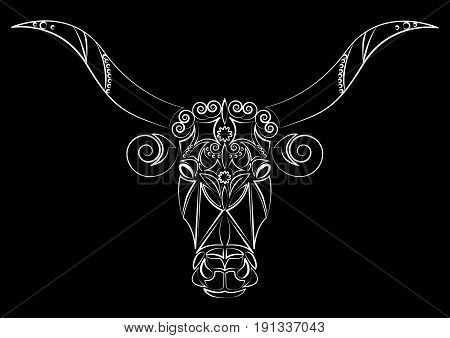 Bull. Silhouette of a bull's head. Talisman, tattoo. A cow with big horns. Print on clothes, fabrics. Design element, emblem, poster, logo