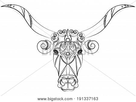 Decorative Indian bull head. Talisman, an animal tattoo. Bull with big horns. Printing on clothes, fabrics. Design element, emblem, poster, tattoo