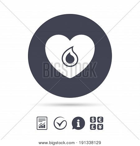 Blood donation sign icon. Medical donation. Heart with blood drop. Report document, information and check tick icons. Currency exchange. Vector